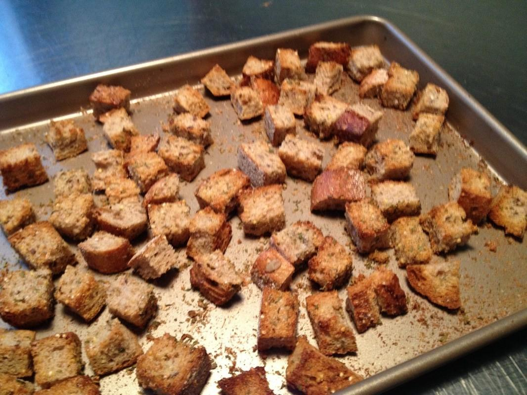 Crispy Garlic Croutons baked