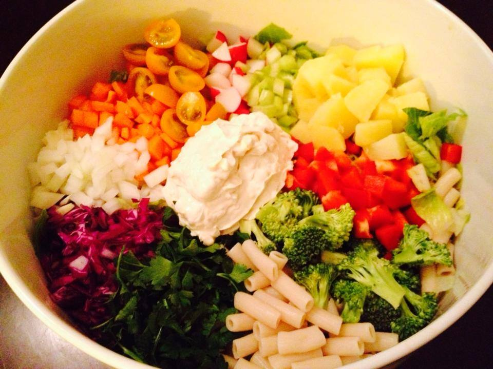 I love a good chopped salad.  I dressed this one with PD French Onion Dip