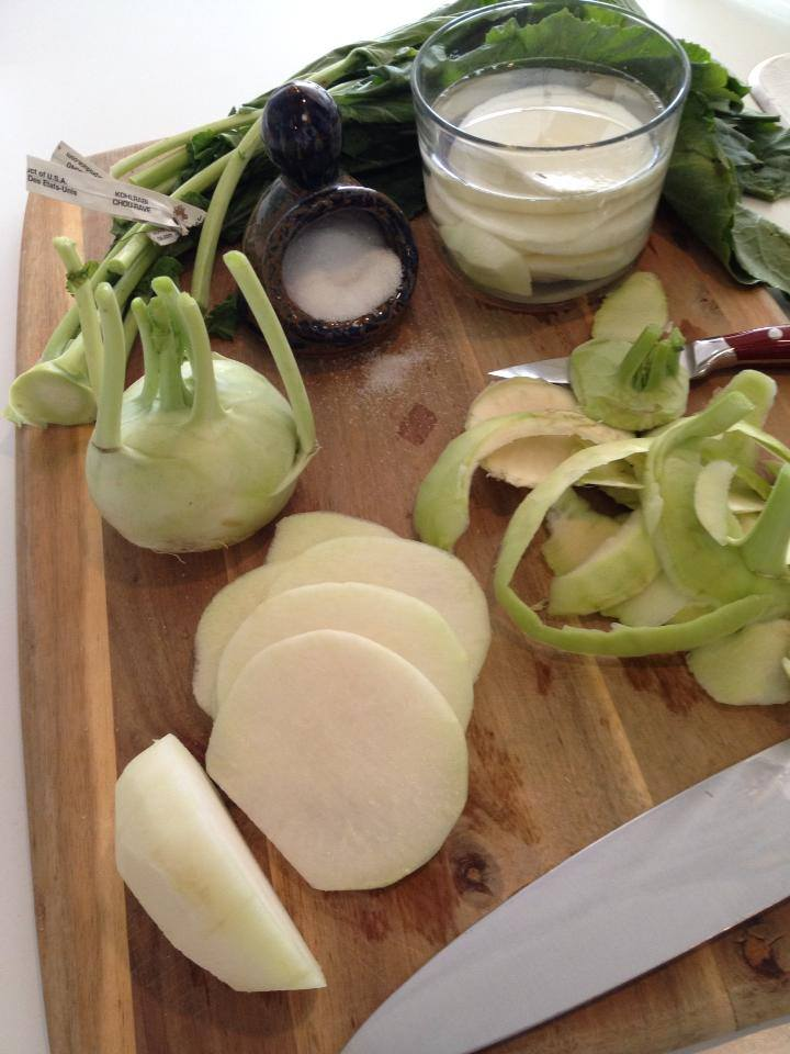 What do I do with a Kohlrabi?  Peel, slice, and chill in lightly salted water….