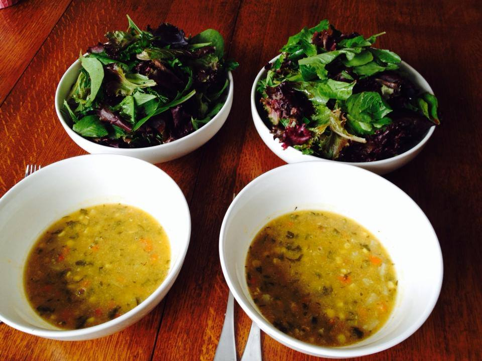 Keep it simple and fast at lunch with leftover soup and pre washed baby greens….