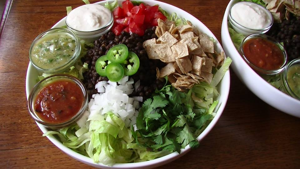 PD Taco Salad is topped with all my favorite taco fillings and spicy toppings….